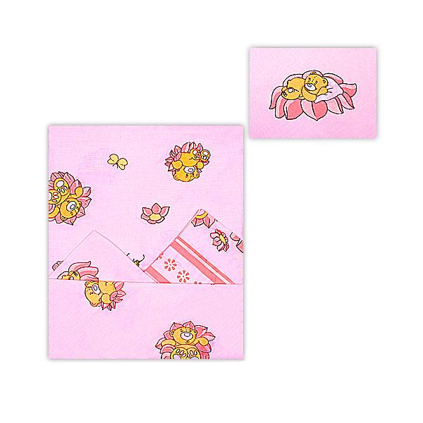 Комплект постельного белья Мотылек с простыней на резинке Розовый<br>