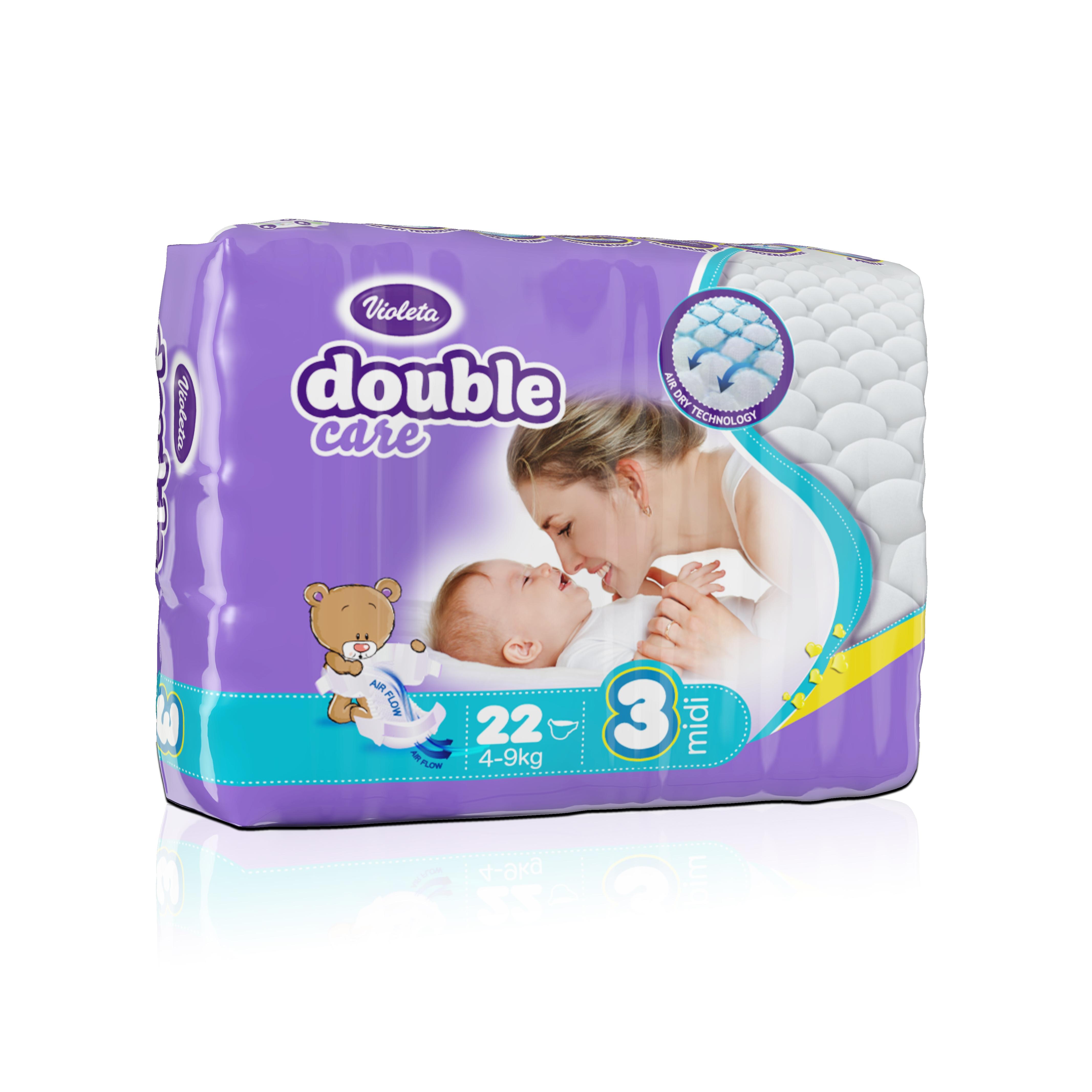Подгузники VIOLETA Double Care 22 штуки (размер 3 MIDI 4-9 кг)<br>