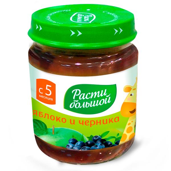 Пюре Расти Большой фруктовое 100 гр Яблоко и черника (с 5 мес)<br>