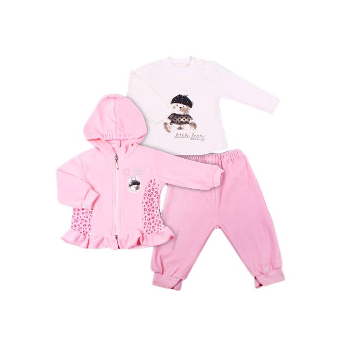 Комплект одежды Estella для девочки, брюки, толстовка, кофта, цвет - Бледно-розовый Размер 68