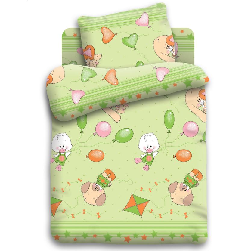 Комплект постельного белья детский бязь Непоседа Кошки-мышки Веселые друзья Салатовый