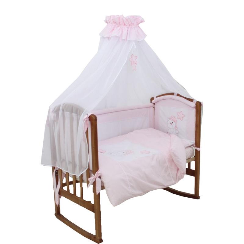 Комплект Папитто Котик 7 предметов борта со съемными чехлами Розовый<br>