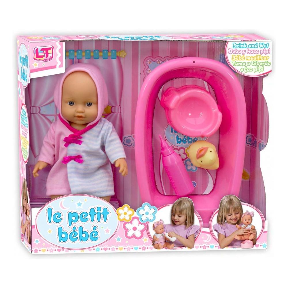 Кукла LOKO TOYS Le Petit Bebe с ванночкой и купальными аксессуарами<br>