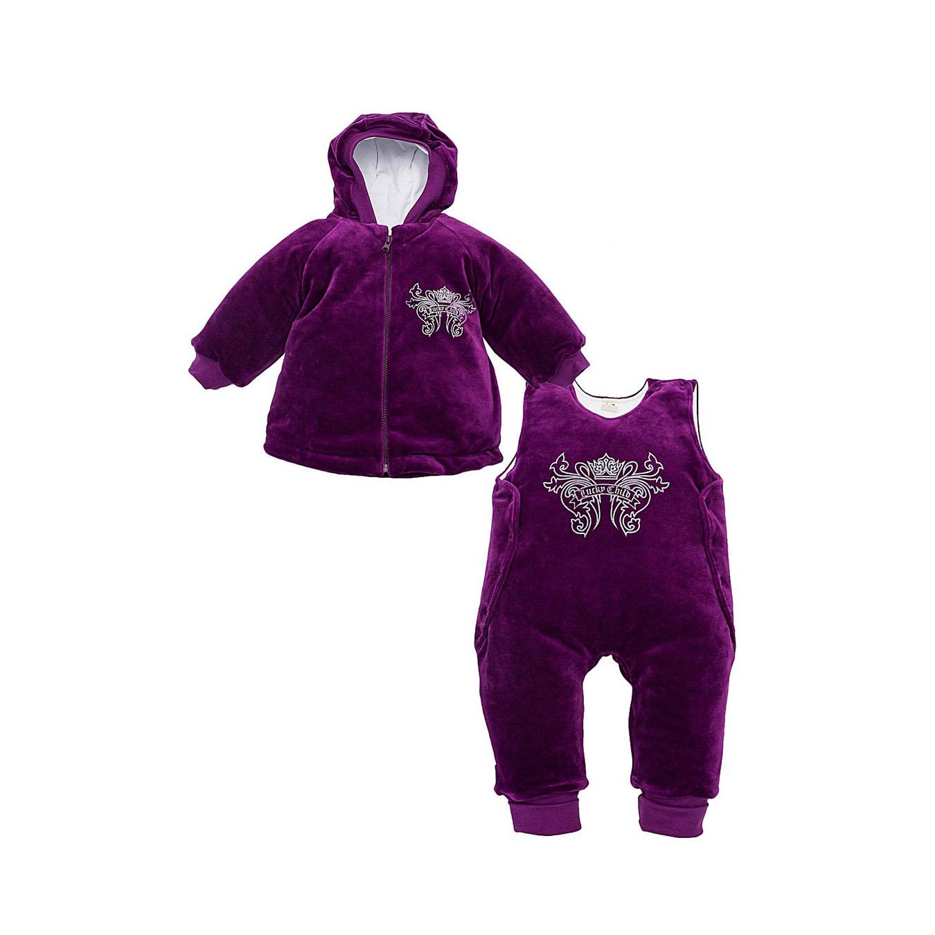 Комплект велюровый Lucky Child на синтепоне, цвет фиолетовый размер 62-68<br>