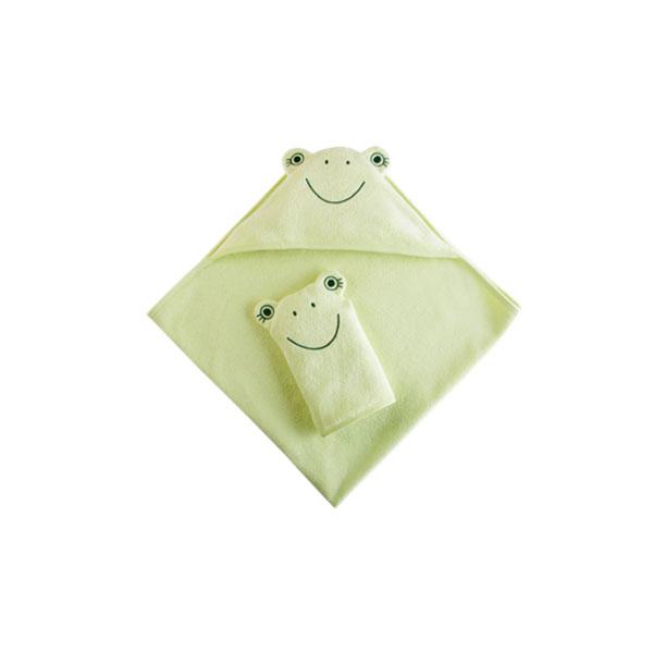 Набор Наша Мама Лягушонок (полотенце-уголок и рукавичка) салатовая махра (Наша мама)