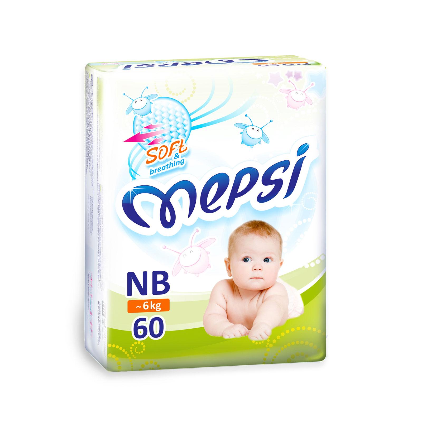 Подгузники Mepsi до 6 кг (60 шт) Размер NB<br>