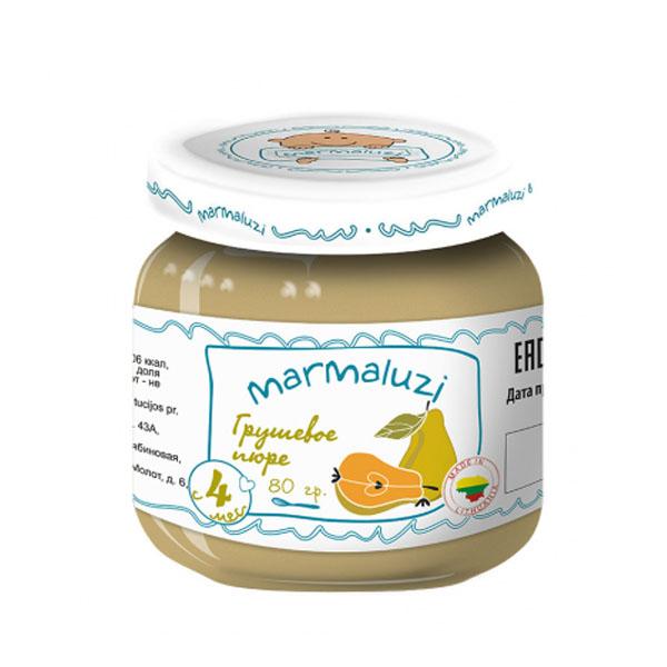 Пюре Marmaluzi фруктовое 80 гр Груша (с 4 мес)<br>