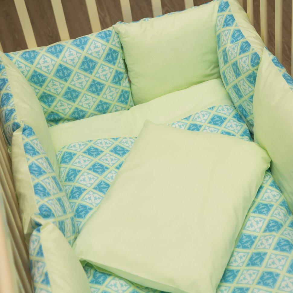 Комплект в кроватку ByTwinz с бортиками-подушками 6 предметов Нежность<br>