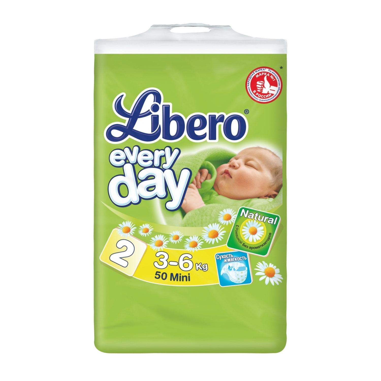 Подгузники Libero Everyday Natural с ромашкой Mini 3-6 кг (50 шт) Размер 2<br>