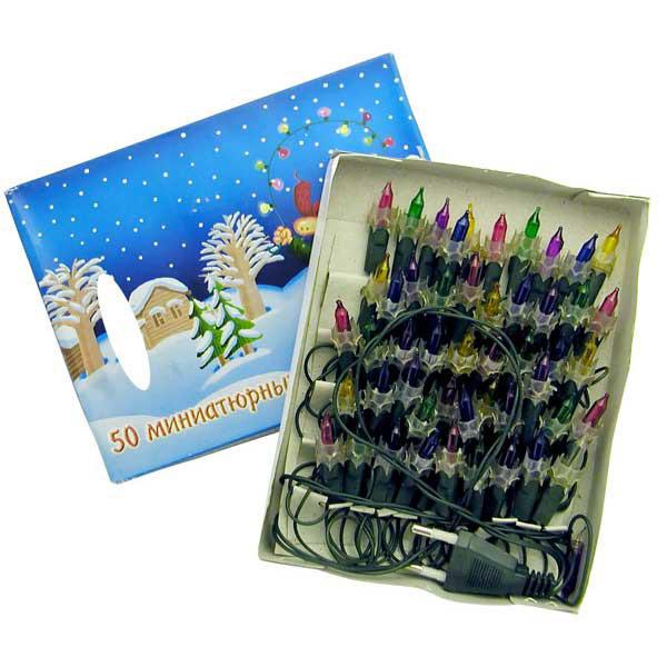 Гирлянда электрическая Winter Wings 50 ламп, прозрачная, цветная, 2.8 + 1.5 м<br>