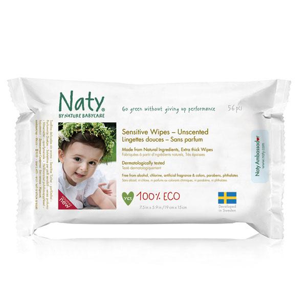 Салфетки влажные Naty без запаха 56 шт<br>