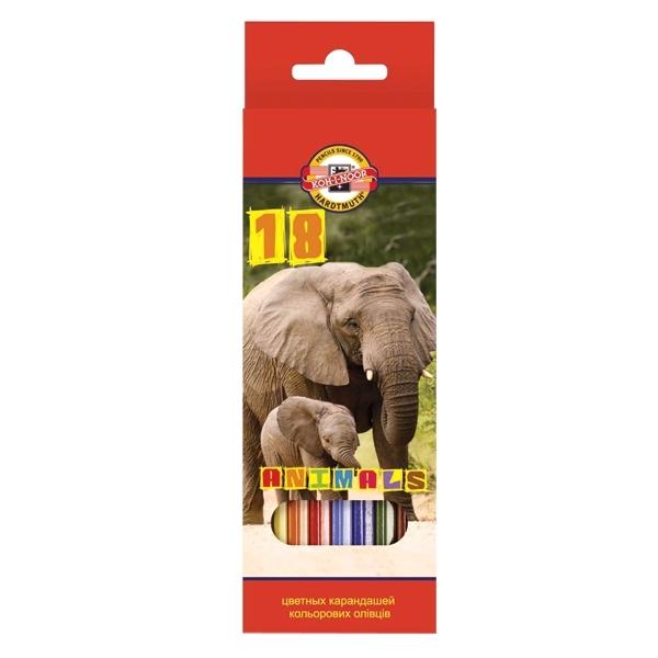 Набор карандашей цветных KOH-I-NOOR ЖИВОТНЫЕ 18 цветов<br>