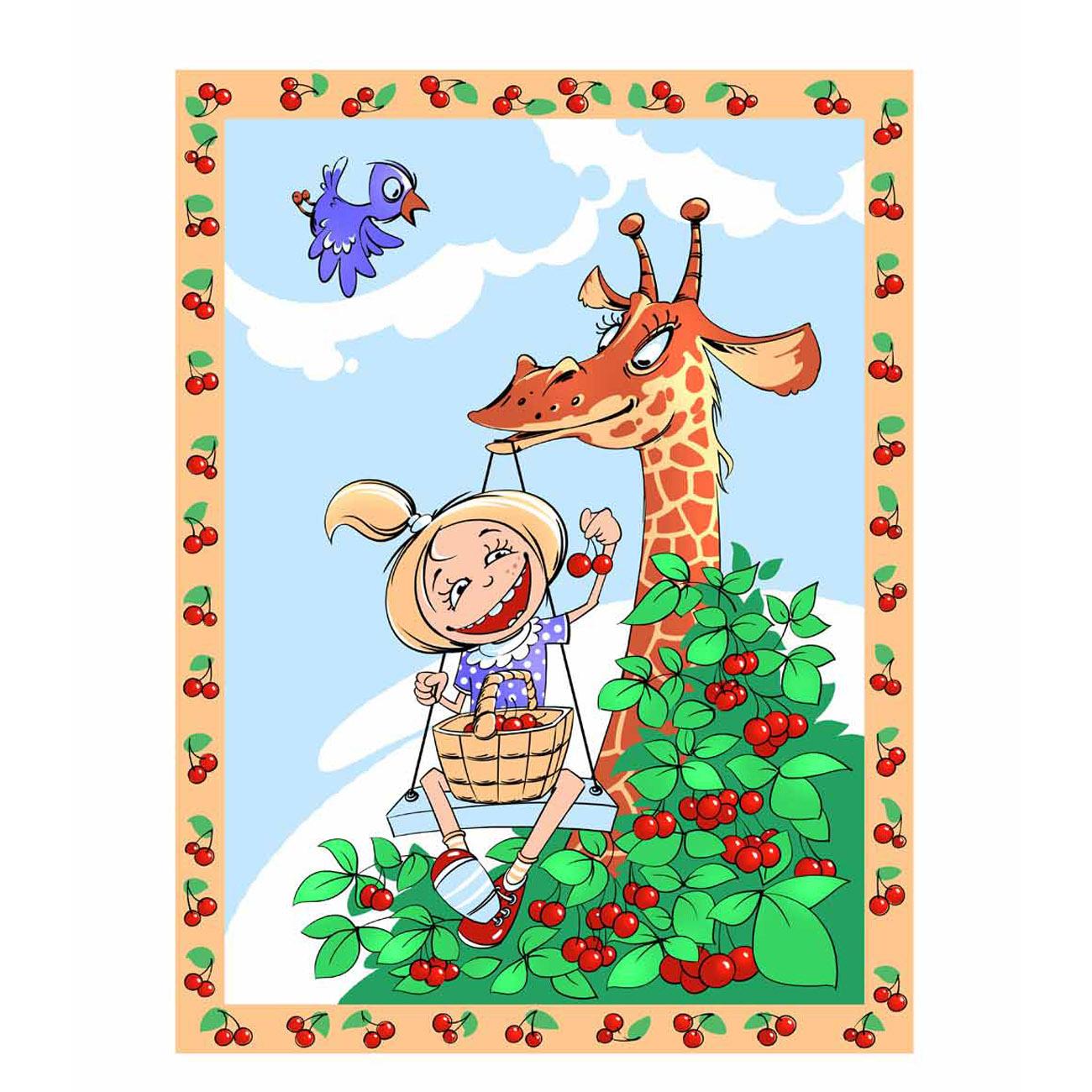 Плед-покрывало ОТК Velsoft 100х140 Жираф и девочка