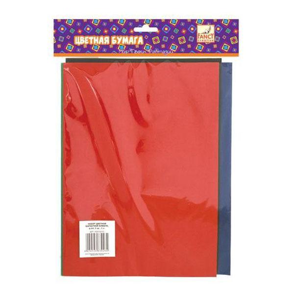 Набор цветной бархатной бумаги FANCY CREATIVE A4 5 цветов 5 листов<br>