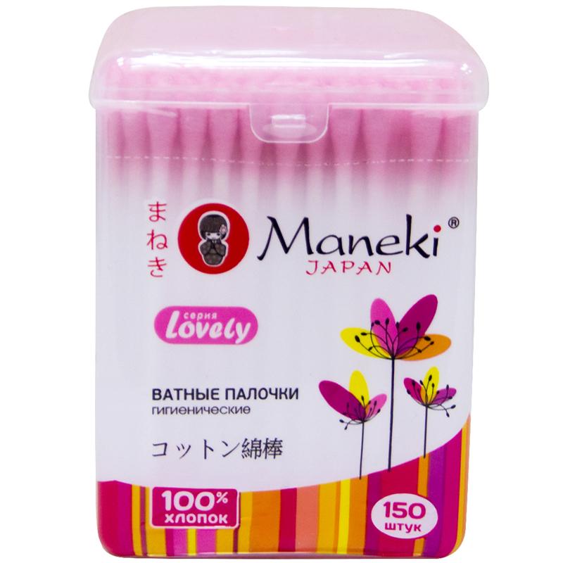 Ватные палочки Maneki Lovely (в стакане) розовые 150 шт<br>
