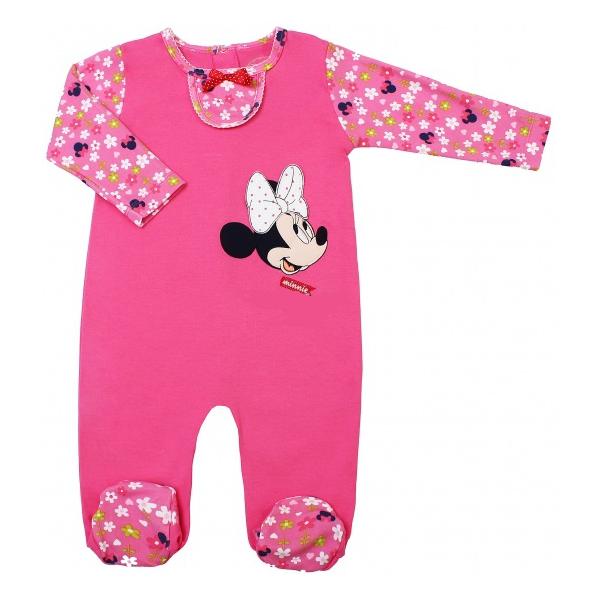 Комбинезон розовый в цветочек Disney Минни с длинным рукавом 3-6 мес.