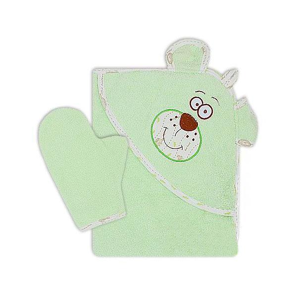 Полотенце-уголок Осьминожка Мишка с вышивкой махровое Салатовое<br>