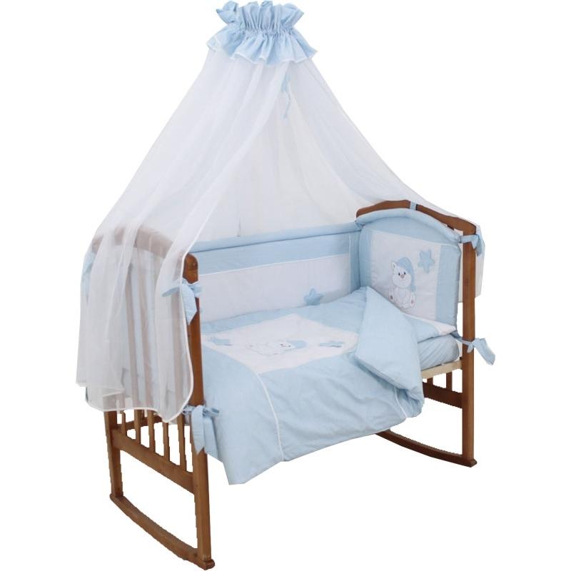 Комплект Папитто Котик 7 предметов борта со съемными чехлами Голубой