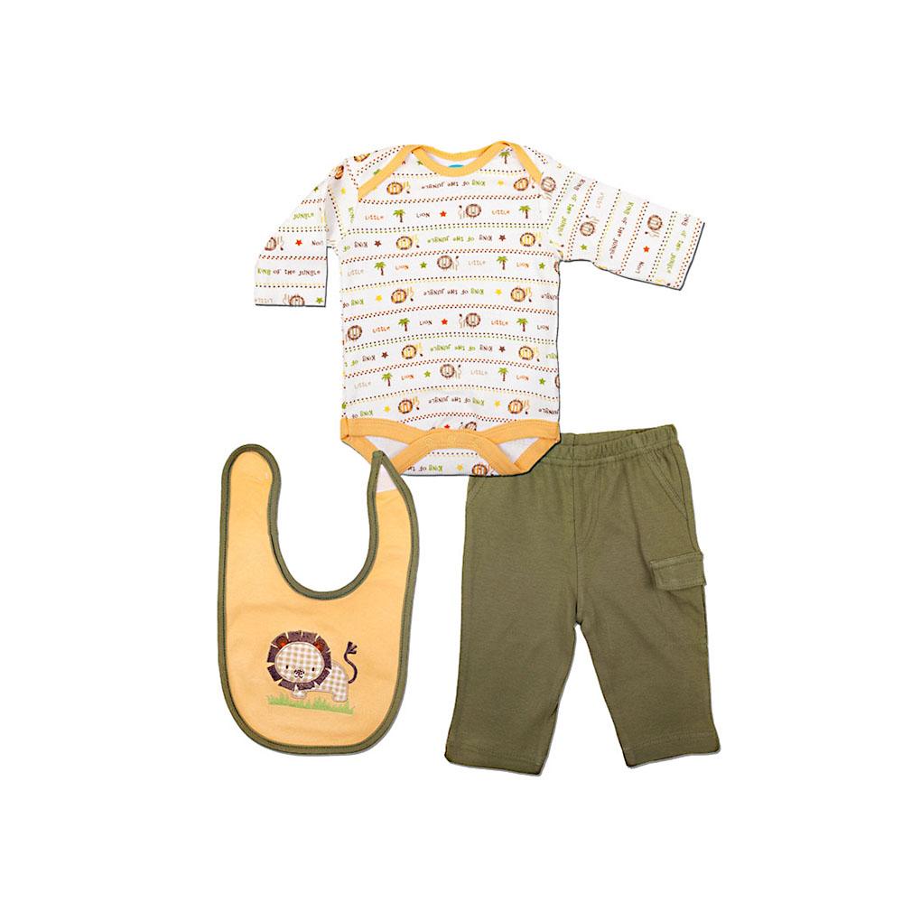 Комплект Bon Bebe Бон Бебе для мальчика: боди длинный рукав, штанишки, нагрудник,цвет желтый-зеленый 3-6 мес. (61-66 см)