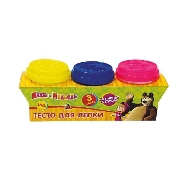 Набор Multiart Тесто для лепки Маша и медведь 3 штуки х 50 грамм и формочки