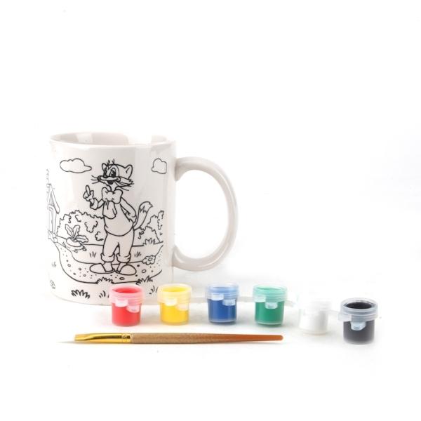 Кружка керамическая Multiart Леопольд Кисточка и краски в комплекте<br>