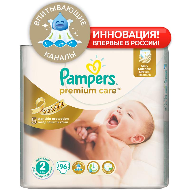 Подгузники Pampers Premium Care Mini 3-6 кг (96 шт) Размер 2<br>