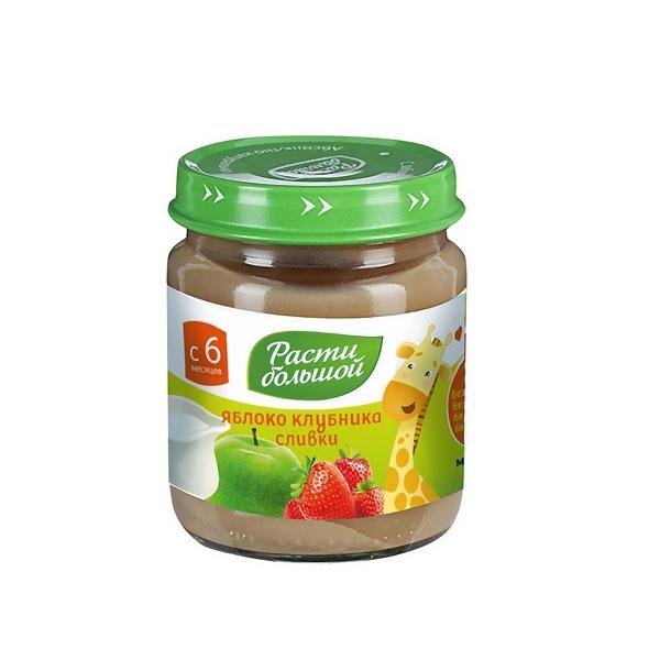 Пюре Расти Большой фруктовое со сливками 100 гр Яблоко клубника со сливками (с 6 мес)<br>