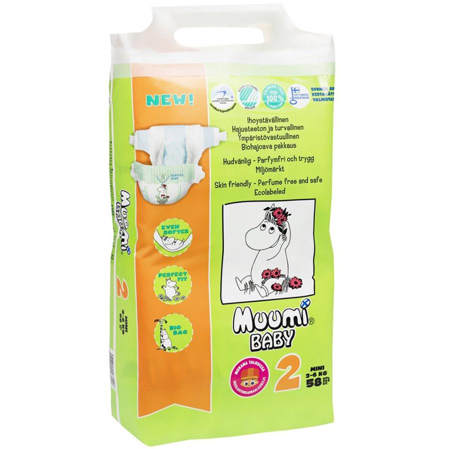 Подгузники Muumi Baby Mini 3-6 кг (58 шт) Размер 2<br>