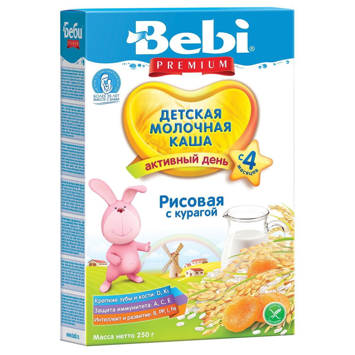 Каша Bebi молочная 250 гр Рисовая с курагой (с 4 мес)<br>