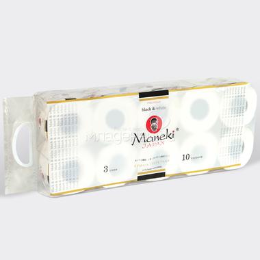 Бумага туалетная Maneki Black&White 3 слоя БЕЛАЯ с ароматом иланг-иланга (10 рулонов в упаковке) 30 м