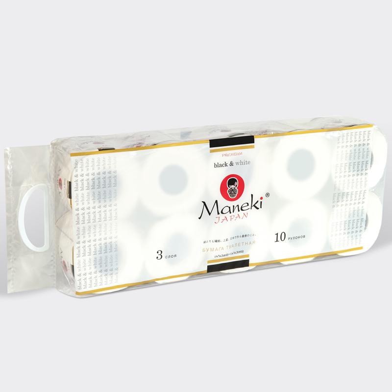 Туалетная бумага Maneki Black&amp;amp;White 3 слоя БЕЛАЯ с ароматом иланг-иланга (10 рулонов в упаковке) 30 м<br>