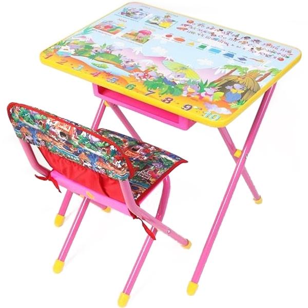 Набор мебели стол и стул Дэми №3 Комфорт Лимпопо Розовый<br>