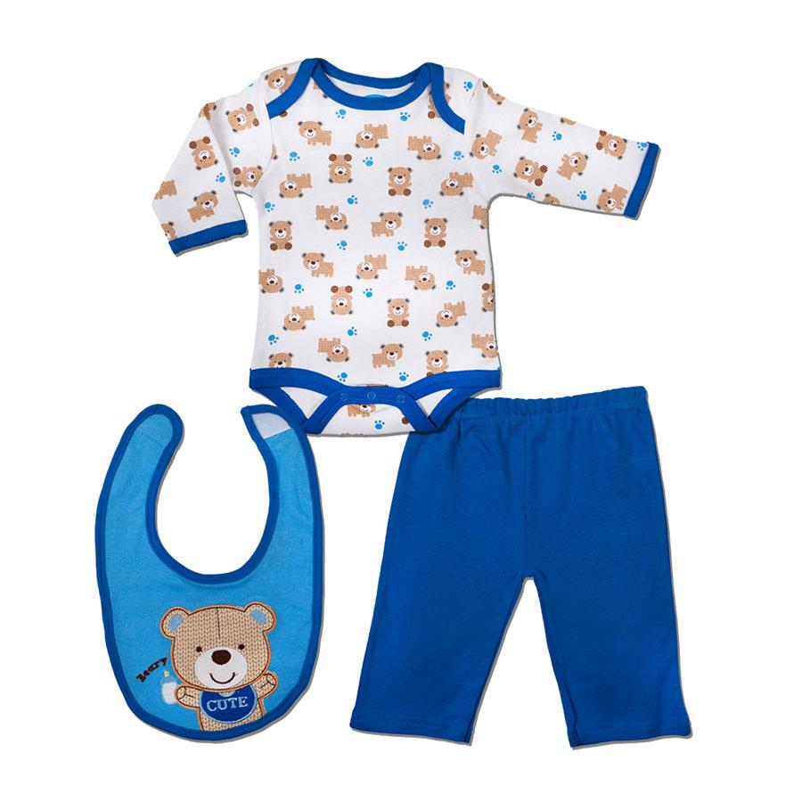 """Комплект Bon Bebe Бон Бебе """"Мишка"""" для мальчика: боди, штанишки, нагрудник, цвет синий 3-6 мес. (61-66 см)"""