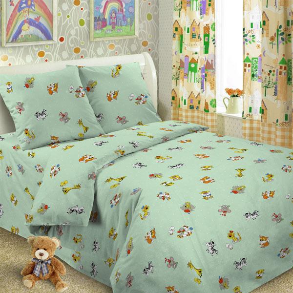 Комплект постельного белья детский Letto в кроватку с простыней на резинке BGR-36 Зеленый<br>