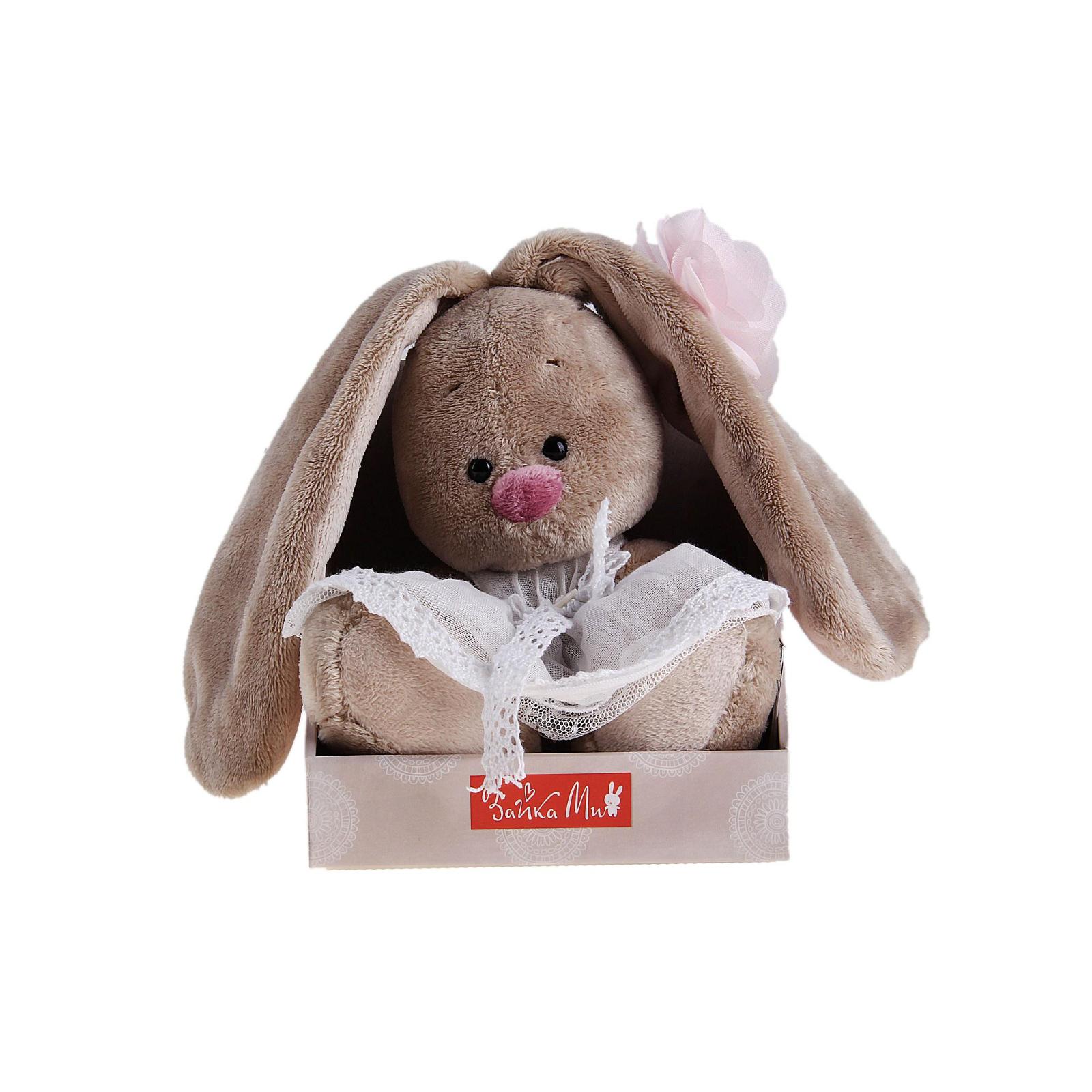 Мягкая игрушка Зайка Ми в платье с цветком 15 см