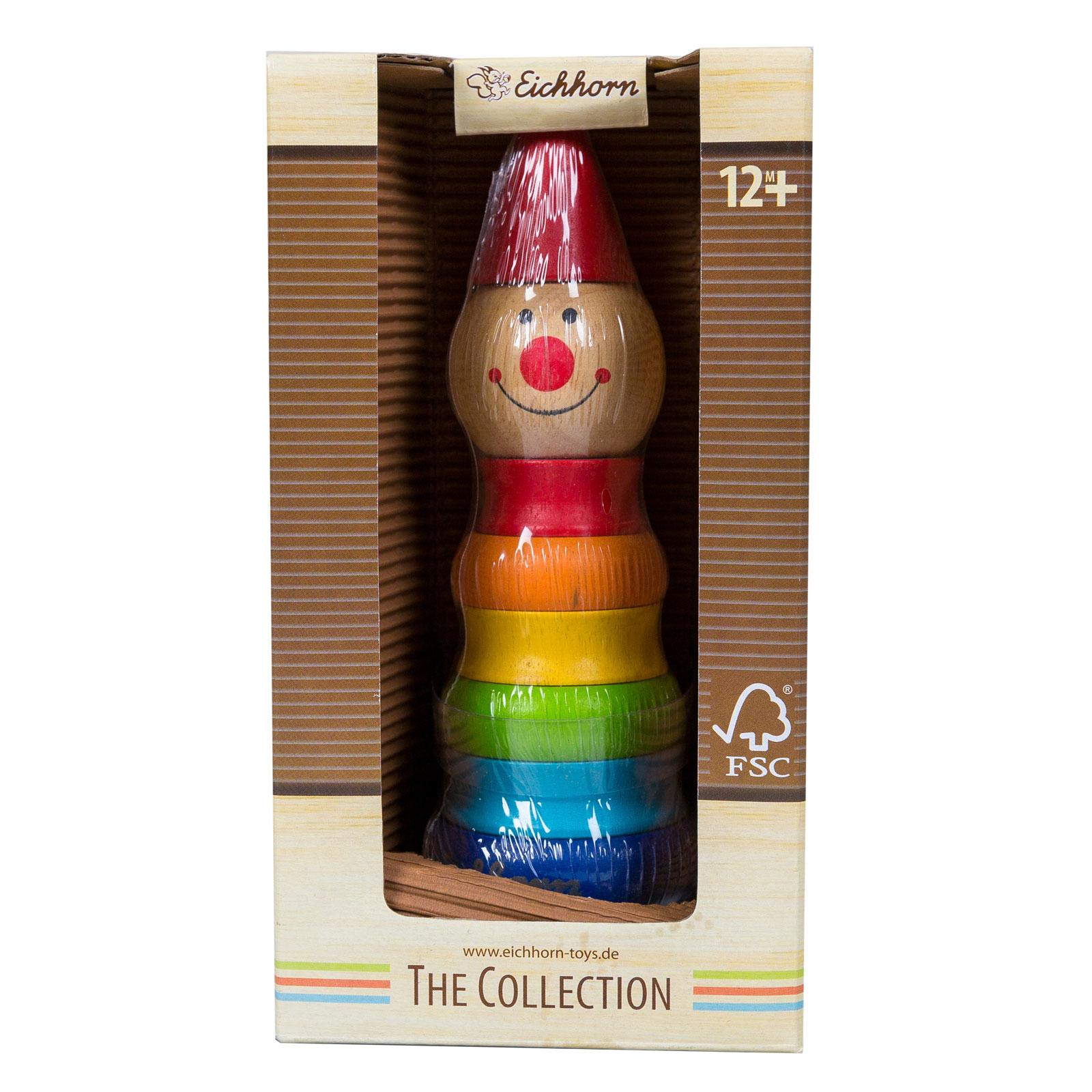 Развивающая игрушка Eichhorn Пирамидка Клоун с 12 мес. (из 7 деталей)<br>