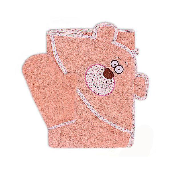 Полотенце-уголок Осьминожка Мишка с вышивкой махровое Оранжевое<br>