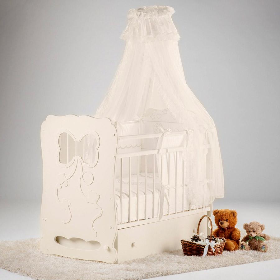 Кроватка Островок Уюта Мальвина маятник поперечный с ящиком Слоновая кость<br>