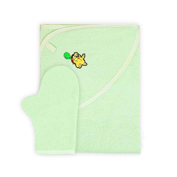 Полотенце-уголок Осьминожка с рукавичкой махровое Салатовое<br>