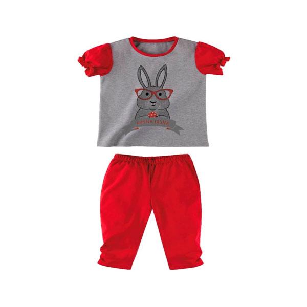 Комплект для девочки Наша Мама (футболка, леггинсы) рост 92 серый меланж с красным<br>