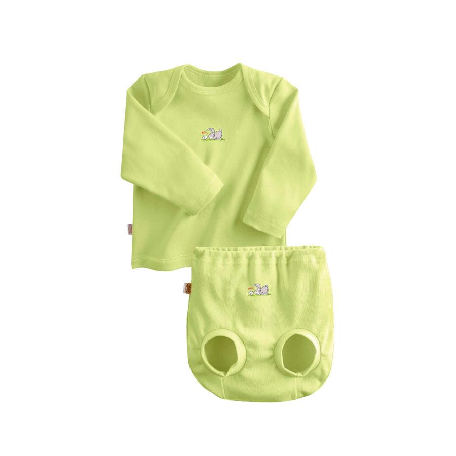 Комплект Наша Мама Be happy №3 (футболка, трусы на подгузник) рост 74 салатовый<br>