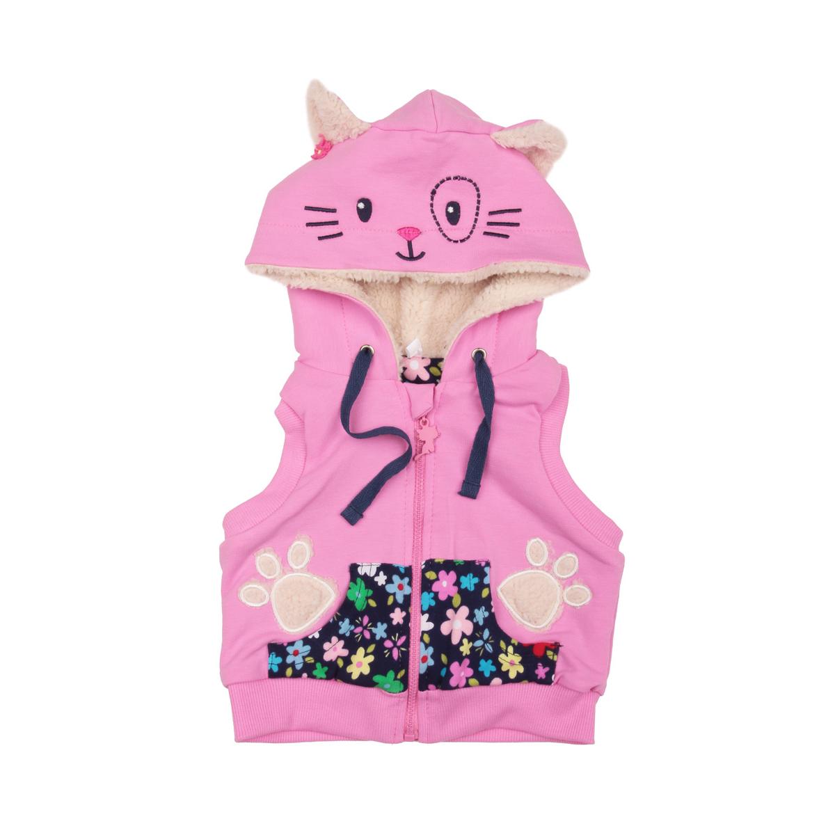 """Жилет Leader Kids """"Зимние цветы"""" с капюшоном на подкладке, цвет - Розовый Размер 74"""