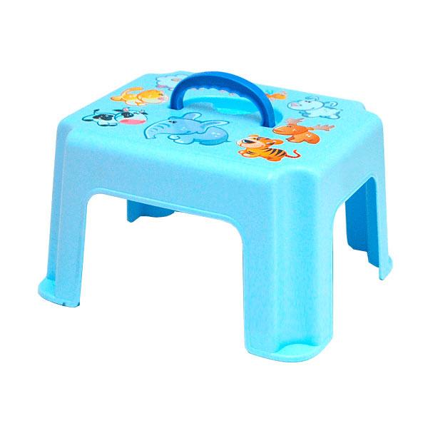 Табурет-подставка М Пластика с ручкой цвет - Голубой<br>