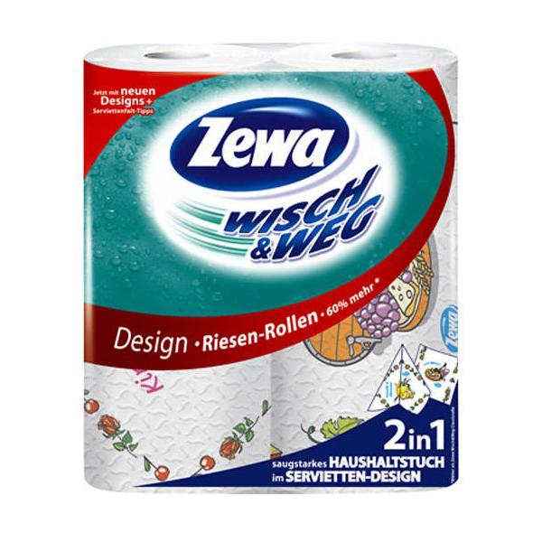 Кухонные полотенца Zewa с рисунком (2слоя) 2 шт
