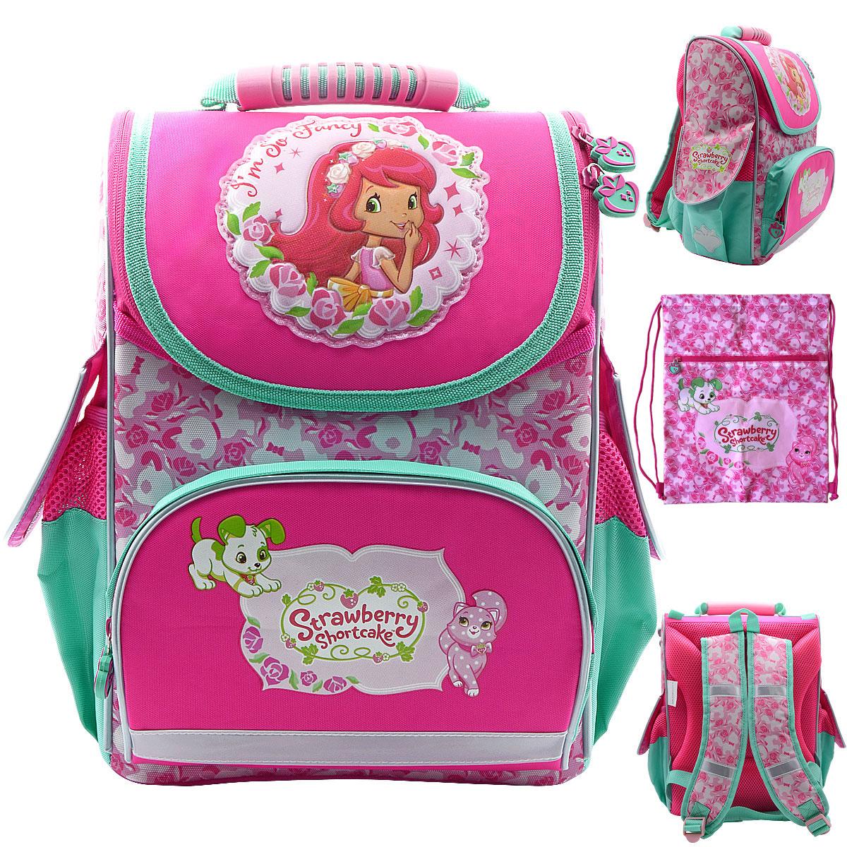 Набор ACTION! Ранец школьный+ мешок для обуви STRAWBERRY SHORTCAKE Розовый<br>