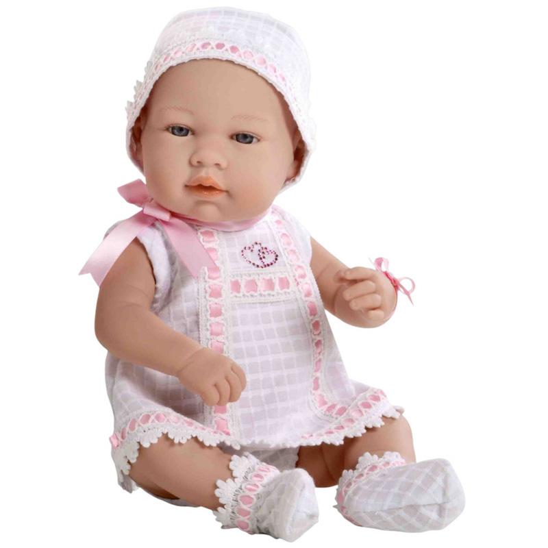 Кукла Arias 42 см Swarowski пупс в бело-розовом платье с цветными стразами в виде сердечек<br>