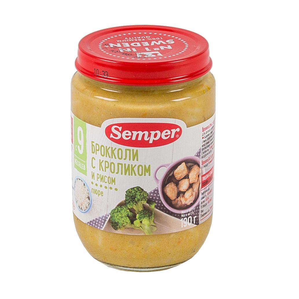 Пюре Semper обед с овощами 190 гр Брокколи с кроликом и рисом (с 9 мес)<br>
