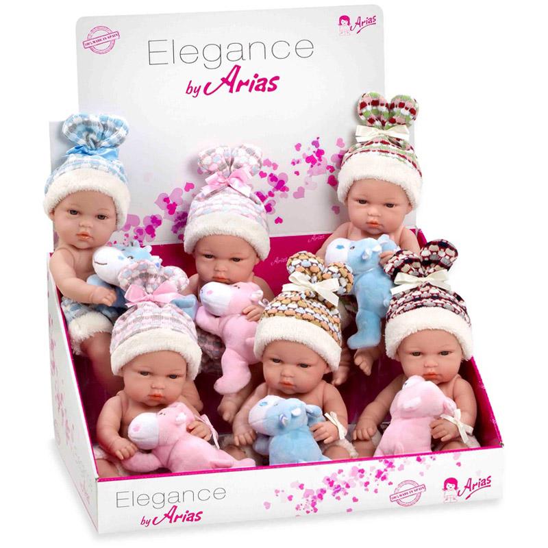 Кукла Arias 33 см Пупс в шапочке с мягкой игрушкой<br>
