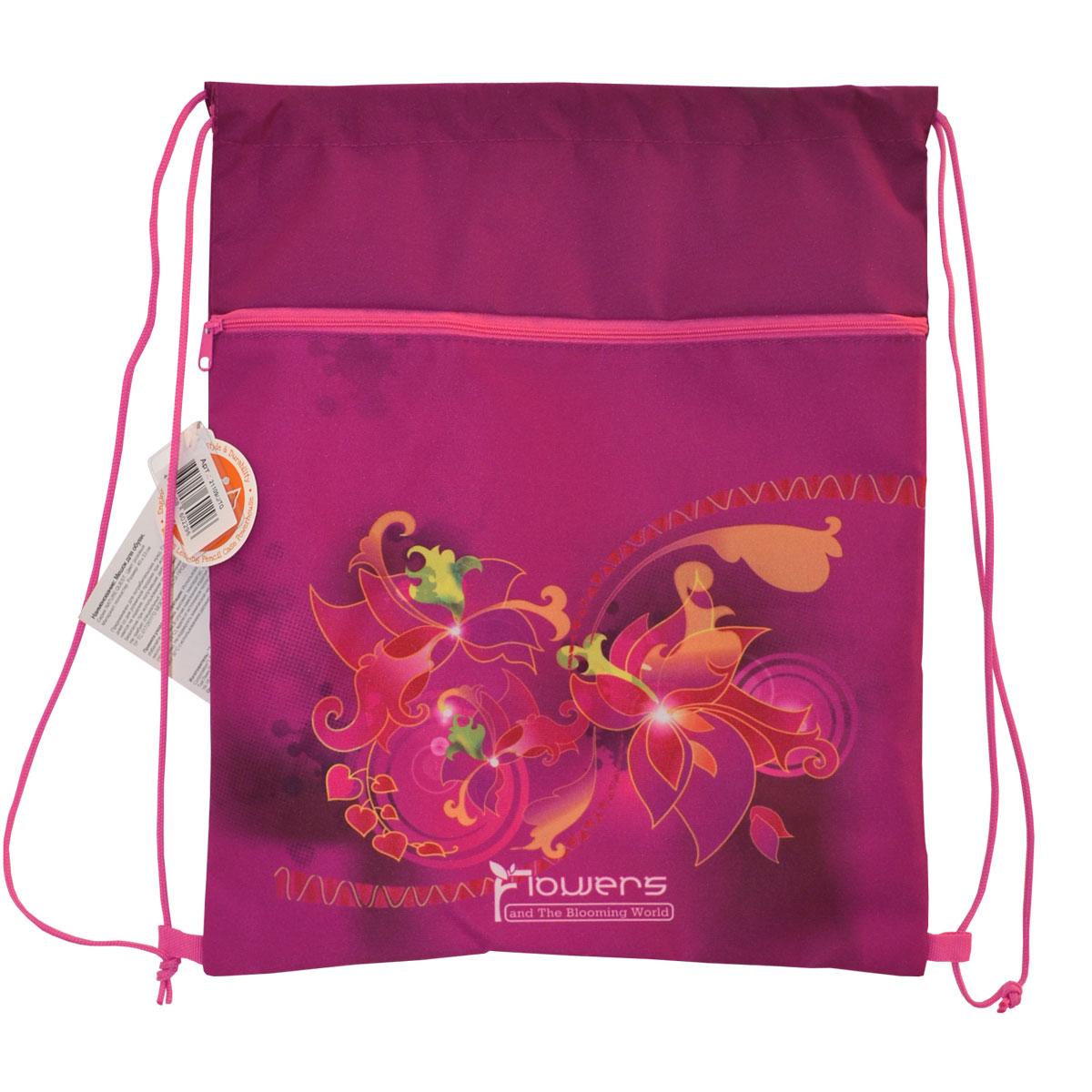 Мешок для обуви Tiger Enterprise NATURE QUEST Flowers с карманом на молнии Для девочек<br>