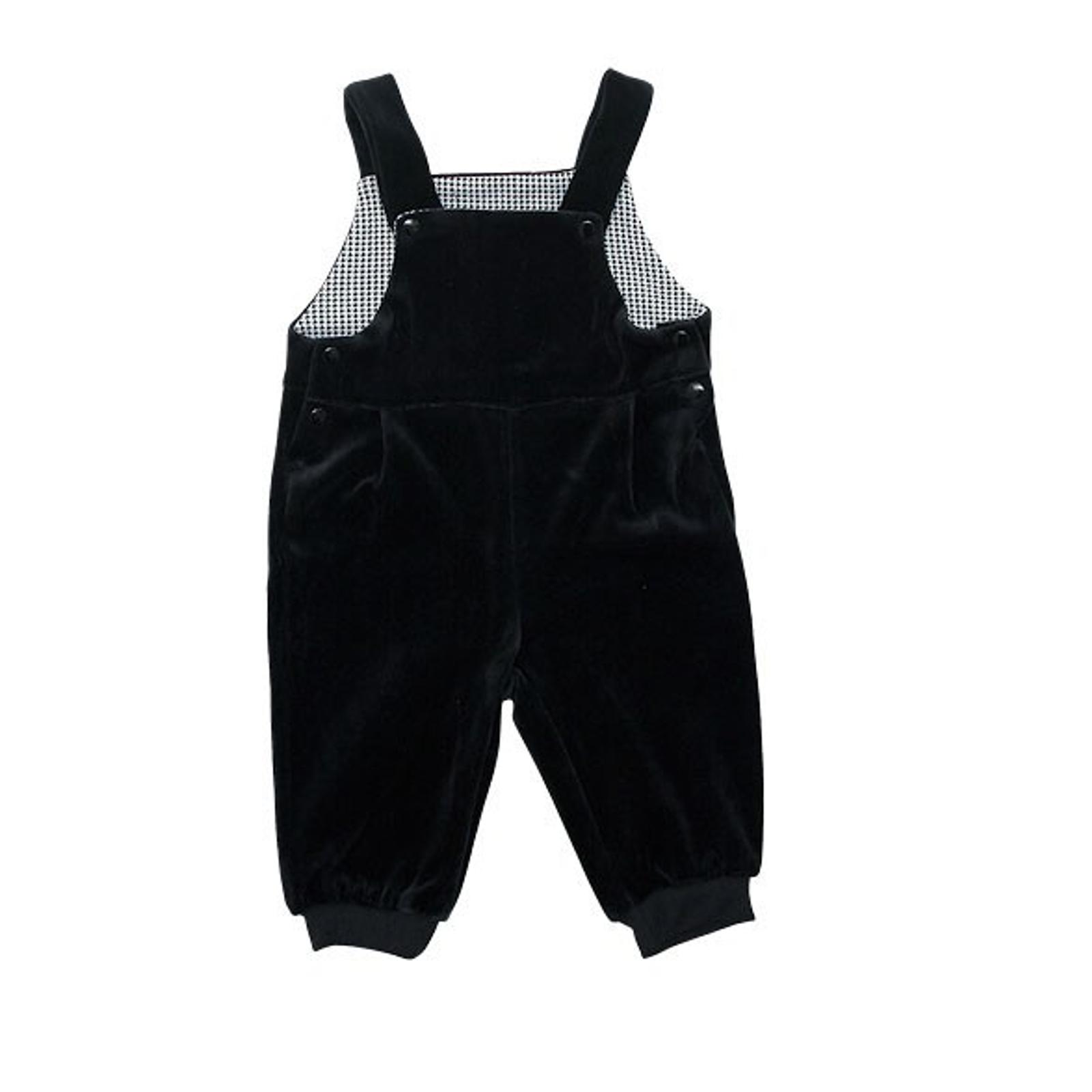 Полукомбинезон велюровый Soni Kids Cони Кидс Денди для мальчика, цвет черный размер 74